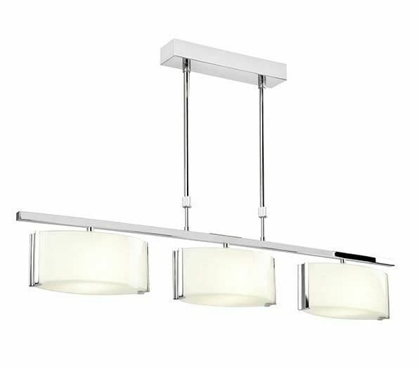 Clef 3 light bar semi flush polished chrome & oval shaped frosted glass shades